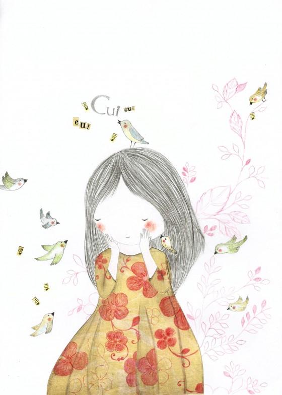 5 - La fille aux oiseaux (21 x 30 cm, 120 euros)