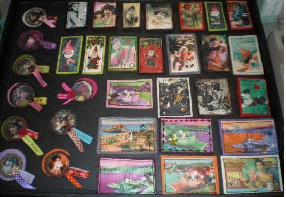 Broches Mes petites folies, images imprimées rebrodées sur feutre, de 14 à 25 euros (d'autres modèles sont disponibles, ainsi que des barrettes)