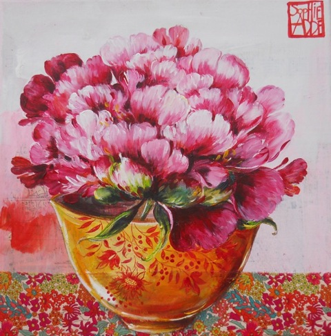 La pivoine orange (30x30 cm, 230 euros)