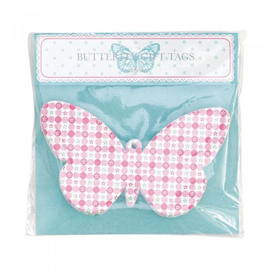 Lot de 24 étiquettes papillons multico