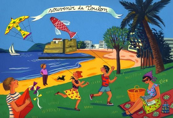 Elé17 - Souvenirs de Toulon (Les cerfs-volants, 20x29 cm, 150 euros)