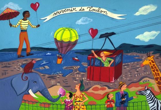 Elé18 - Souvenirs de Toulon (Le téléphérique, 20x29 cm, 150 euros)