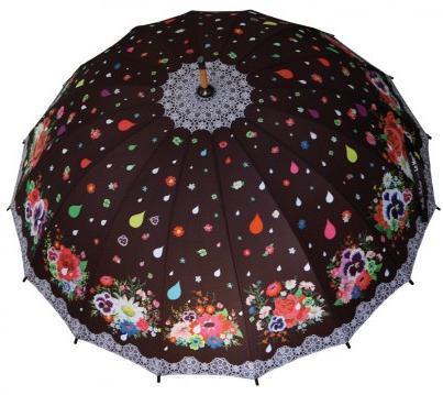 Parapluie fleurs brodées Melle Héloïse (45 euros), manche bois