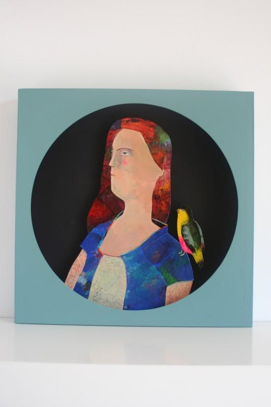 Portrait de femme 1, découpe ronde (35x35 cm, 420 euros)