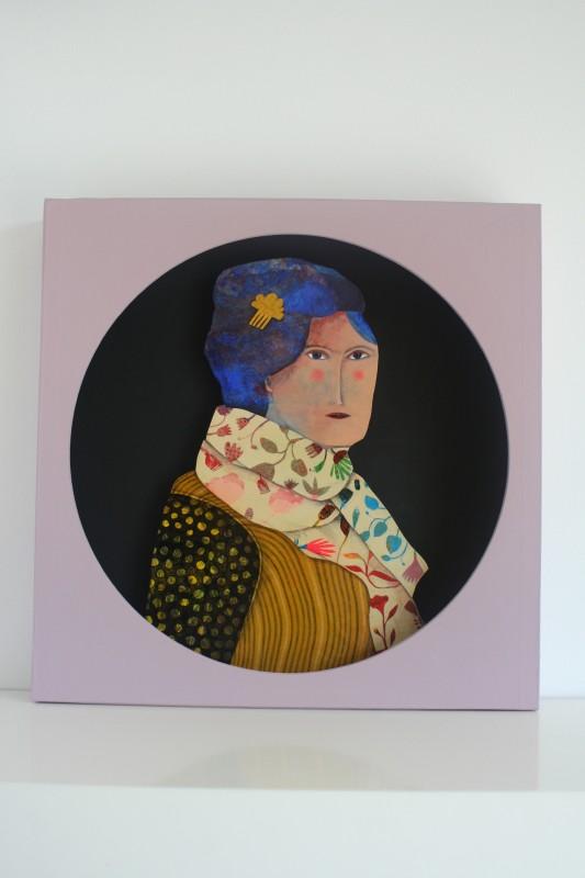 Portrait de femme 2, découpe ronde (35x35 cm, 420 euros)