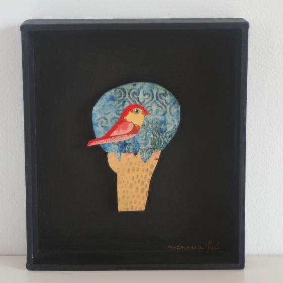 Arbre Fleur n°2, cadre carton noir (11x12,5 cm, 120 euros)