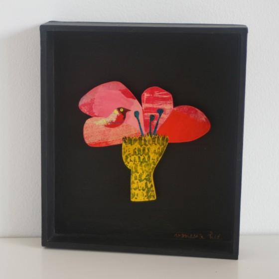 Arbre Fleur n°1, cadre carton noir (11x12,5 cm, 120 euros)