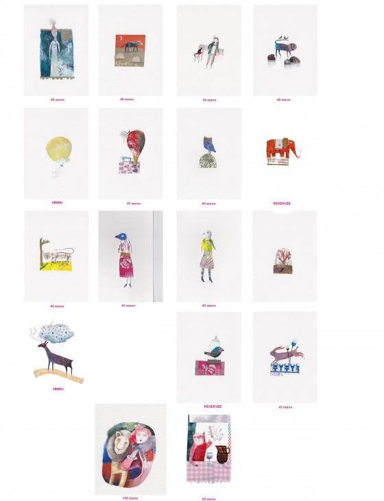 Illustrations sur papier non encadrées (13x18 cm, de 35 à 130 euros). Cliquez pour agrandir !