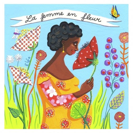 Elé 47 - La femme en fleur  (illu 15x15 cm, cadre 25x25 cm, 120 euros)