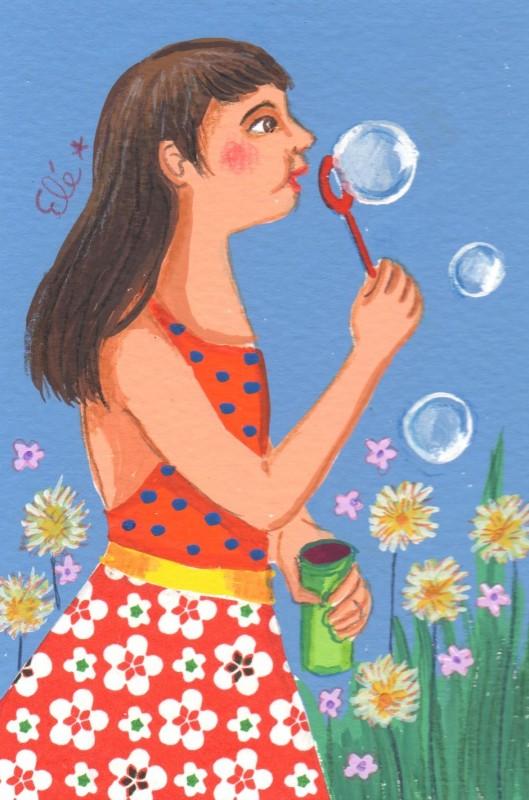 Elé1 – Les bulles de savon (12×8 cm, 50 euros)