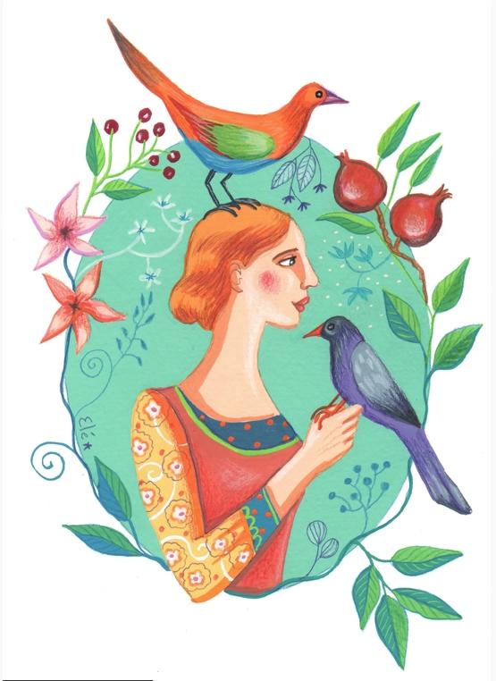 Elé43 - La dame aux oiseaux (illu 15x 22 cm, cadre 23x32 cm, 120 euros)