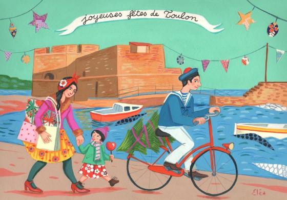 Elé53 - Joyeuses fêtes de Toulon (illu. 20×29 cm, cadre 30×40 cm, 170 euros)