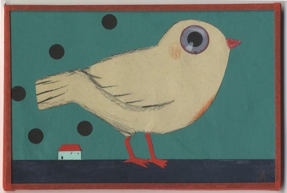 AJ12 – Oiseau à la maison, crayon de couleur et papier découpé, 10,5/15cm (80€)