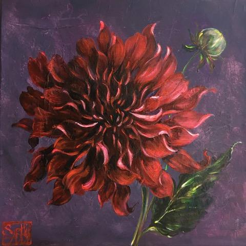 SA11 - Le dahlia rouge (30x30 cm, acrylique sur collage sur toile, 230 euros)