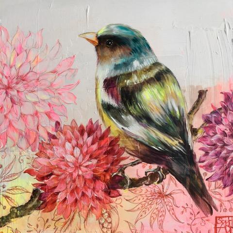 SA14 - La mésange et les fleurs (30x30 cm, encre et acrylique sur bois, 230 euros)