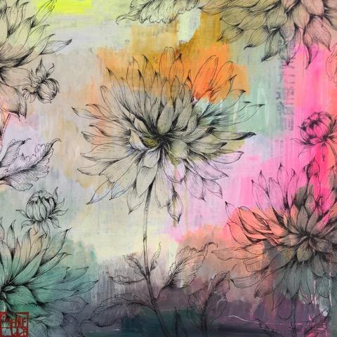 SA15 - Les dahlias (40x40 cm, encre de Chine et acrylique sur papier népalais sur toile, 300 euros)
