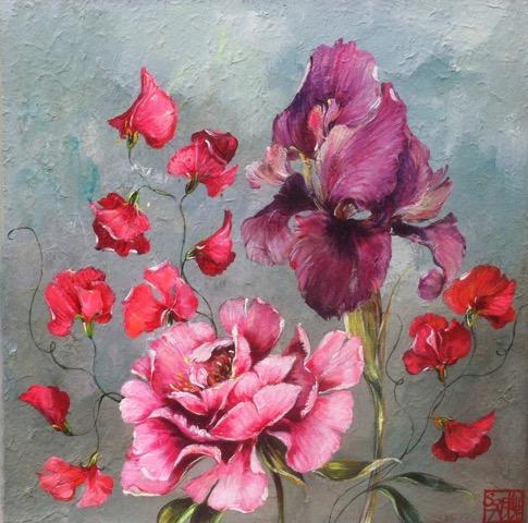 SA16 - Rose, Iris et pois de senteur (40x40 cm, acrylique sur collage sur toile, 300 euros)