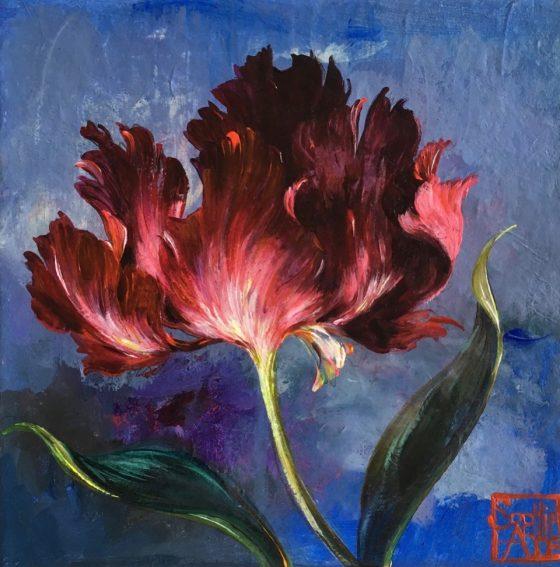 SA18 - La tulipe pourpre (20x20 cm, acrylique sur collage sur toile, 120 euros)