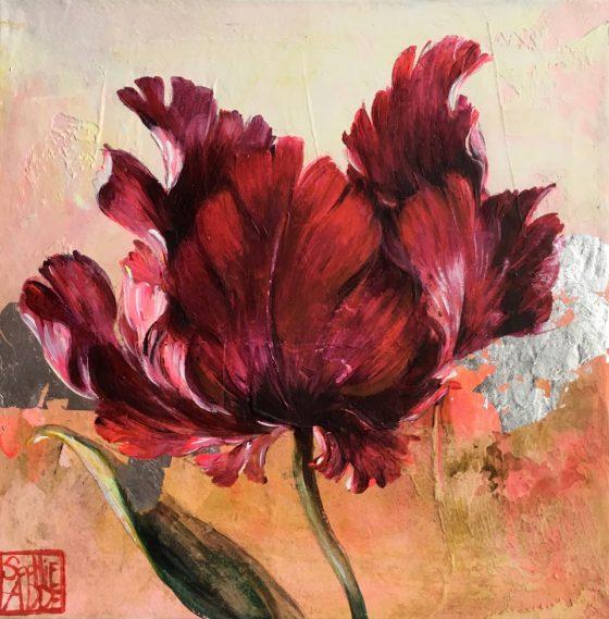 SA22 - La tulipe aux éclats d'argent (20x20 cm, acrylique réhaussé à la feuille d'argent sur toile, 120 euros)