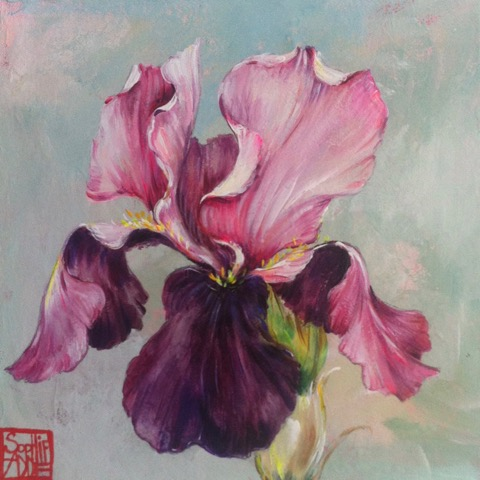 SA5 - L'iris mauve (20x20 cm, acrylique sur collage sur toile, 120 euros)