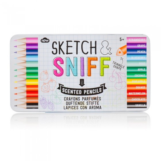 Crayons de couleur parfumés (fraise, orange, chocolat, melon ...) NPW, 11,90 euros les 12 crayons dans leur boîte métal