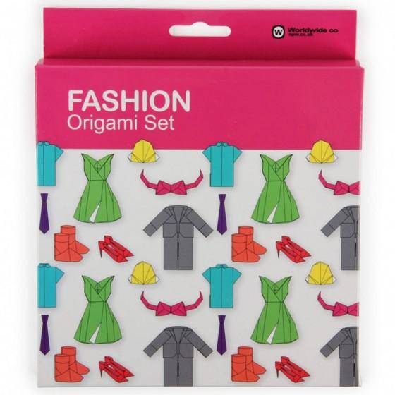 Kit pour origami spécial mode, 100 feuilles + un livret de modèles (robe, chapeau, Tshirt ...) Worldwide co., 9,50 euros