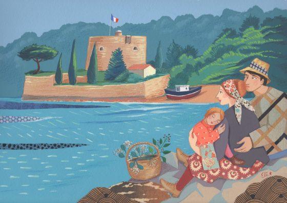 Elé 120 - Souvenir de Toulon,Les promeneurs du fort Balaguier (illu. 20x30 cm, cadre 30x40 cm, 190 euros)