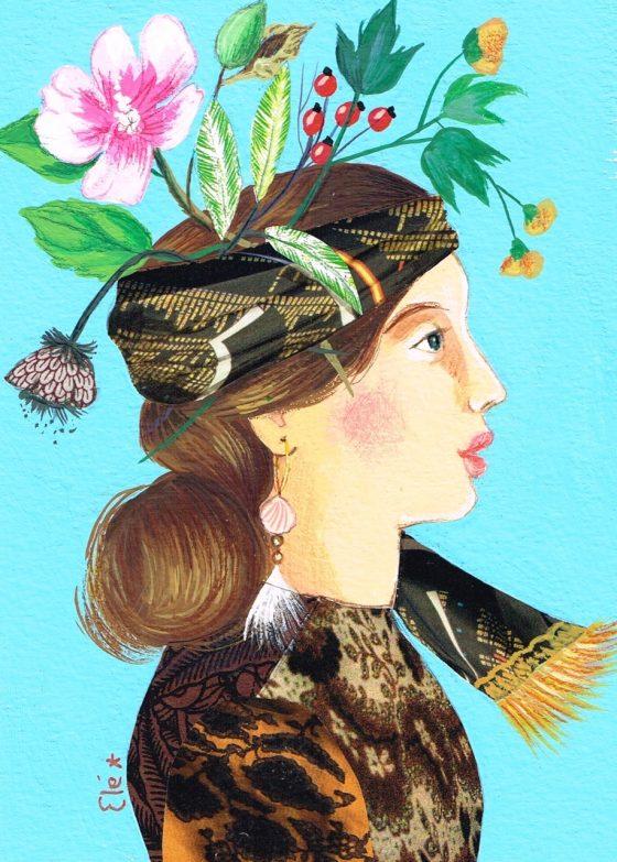 Elé106 - Princesses des steppes, Anouchka (illu. 12x17 cm, cadre blanc 21x30 cm, 75 euros)