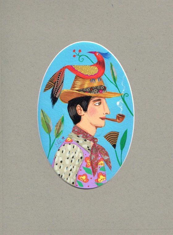 Elé109 - Les fiancés aux oiseaux, le jeune homme (illu.14x9,5 cm, cadre chêne 31x25 cm, 65 euros)