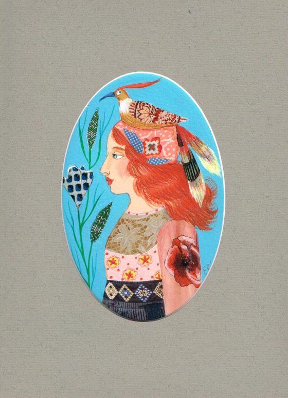 Elé110 - Les fiancés aux oiseaux, la demoiselle (illu.14x9,5 cm, cadre chêne 31x25 cm, 65 euros)
