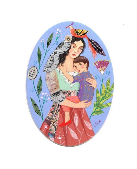 Elé111 - Mère à l'enfant, le petit garçon (illu. 17,5x12,5 cm, cadre chêne 37x31 cm, 90 euros)