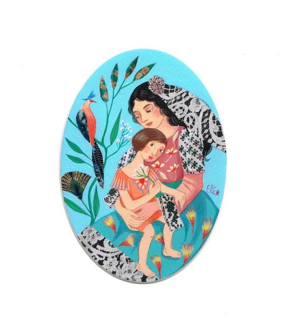 Elé112 - Mère à l'enfant, la petite fille (illu. 17,5x12,5 cm, cadre chêne 37x31 cm, 90 euros)