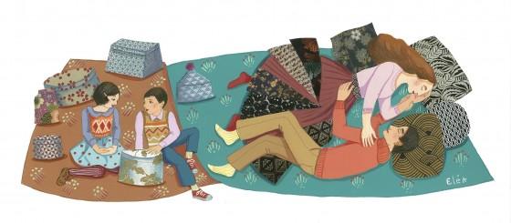 Elé68 - Les boîtes à mystère (illu. 44x18 cm, cadre 50x23 cm, 190 euros)