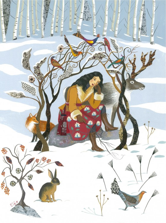 Elé74 - Au coeur de l'hiver (illu. 29x39 cm, cadre chêne clair 42,5x52,5 cm) 250 euros