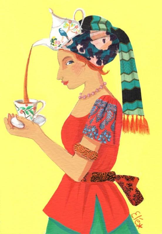 Elé80 - femme au turban, la théière (Illu. 12x17 cm, cadre 21x30 cm) 65 euros