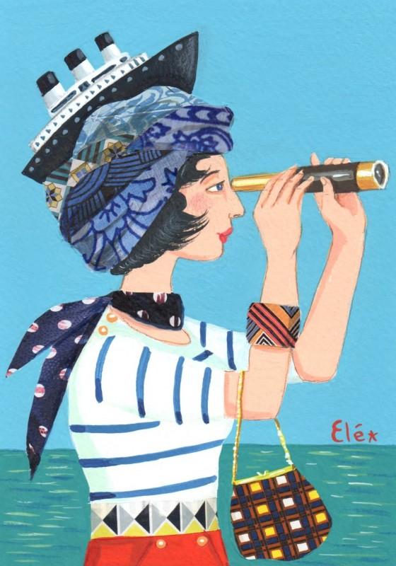 Elé83 - femme au turban, le bateau (Illu. 12x17 cm, cadre 21x30 cm) 65 euros
