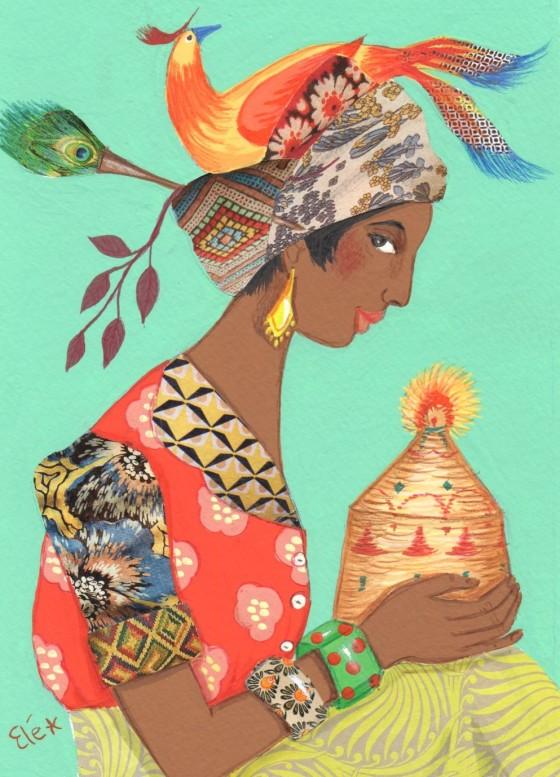 Elé85 - femme au turban, l'oiseau (Illu. 12x17 cm, cadre 21x30 cm) 65 euros