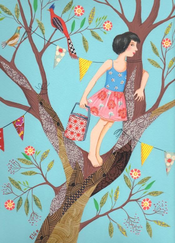 Elé90 - Sur mon arbre perchée (Illu. 21x29 cm, cadre 30x40 cm, 170 euros)