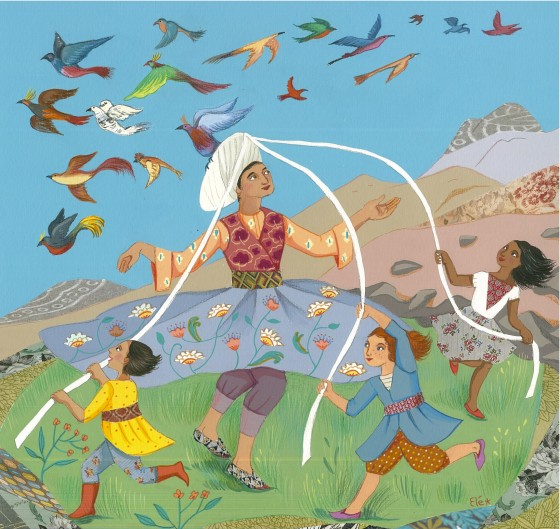 Elé73 - Libérez les oiseaux ! (illu. 29x29 cm, cadre 40x40 cm) 230 euros