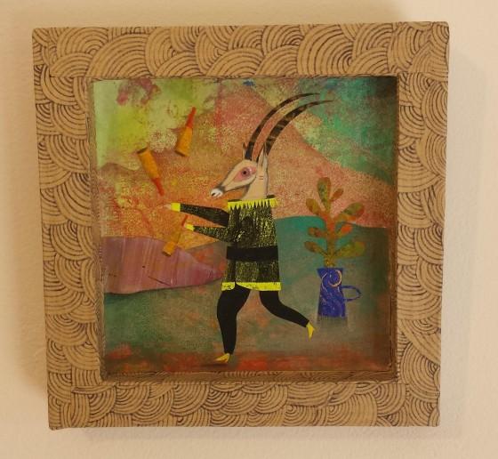VH11 - Saltimbouc (acrylique, crayon et collage sur cadre carton, 10x10 cm, 120 euros)