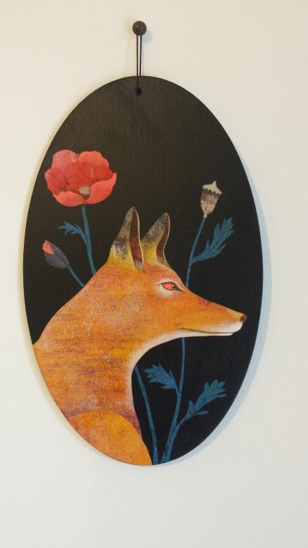 VH2 - Renard et coquelicot (acrylique, crayon et collage sur bois (vernis mat) - format 13x21 cm, 190 euros)