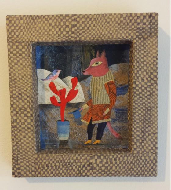 VH6 - Rencontre (acrylique, crayon et collage sur cadre carton, 9x10 cm, 90 euros)