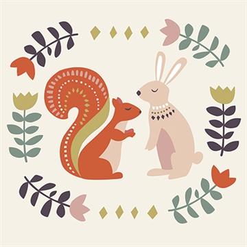 1 ravissante carte double + enveloppe Folk Animals OFFERTE pour toute commande sur la boutique en ligne !
